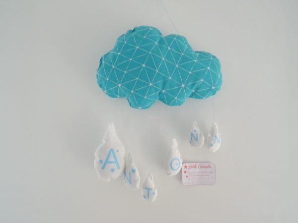 Coussin nuage prénom turquoise par Little Cousette