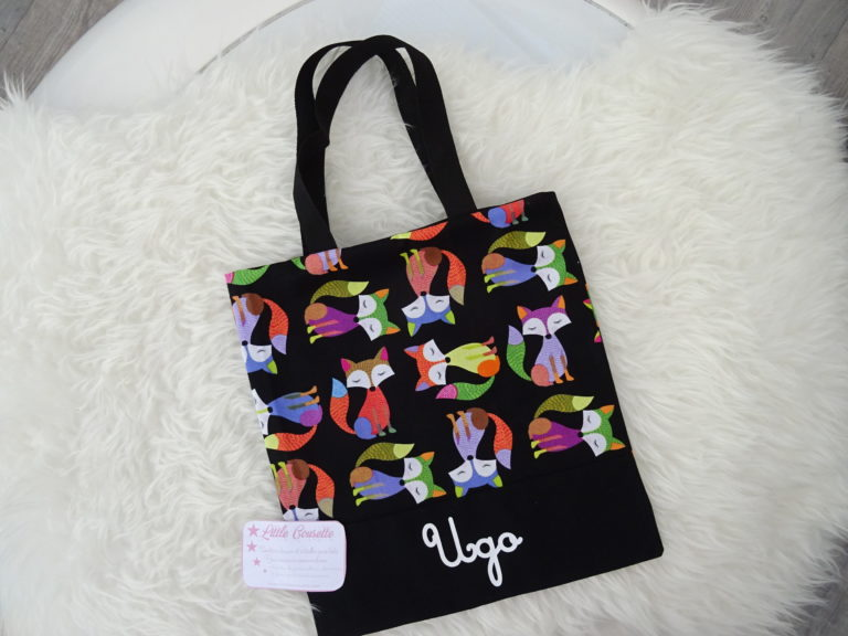 Tote bag sac plat sac de bibliothèque maternelle avec rabat