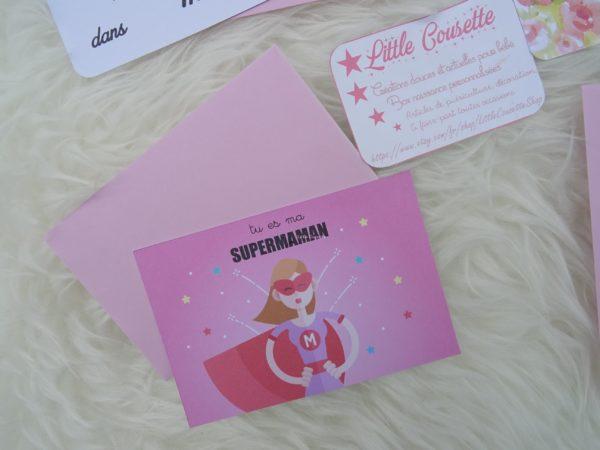 box maman pour la fete des meres carte modele supermaman