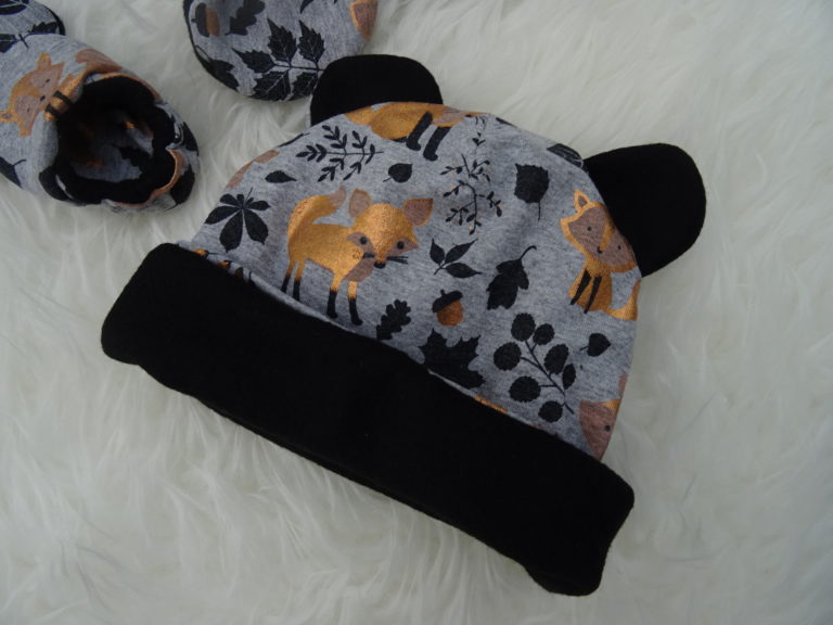 Bonnet à oreilles bébé doublé polaire personnalisé tissu