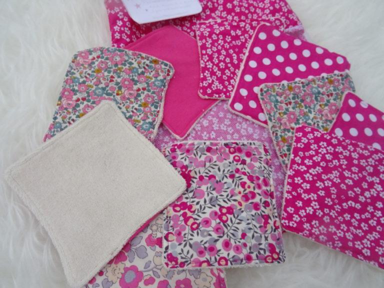 Lot de 10 lingettes lavables en tissu éponge biologique non blanchi + panière 100% coton+ pochon de lavage