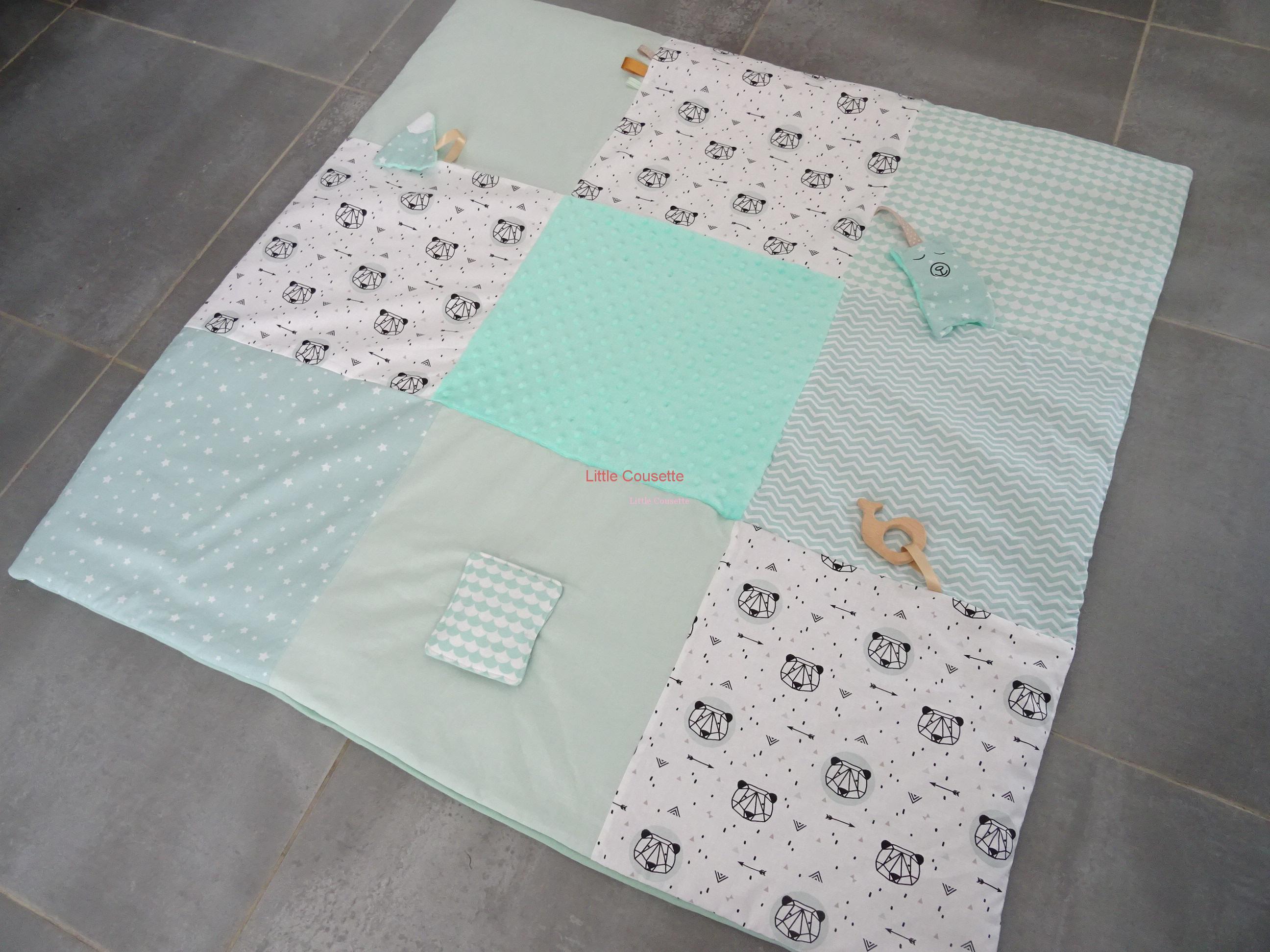 Couture Tapis De Sol Bébé tapis-eveil-bebe-xl-personnalise-tissu-prenom-little