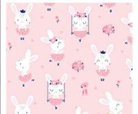 Tissu lapins avec tutu fond rose