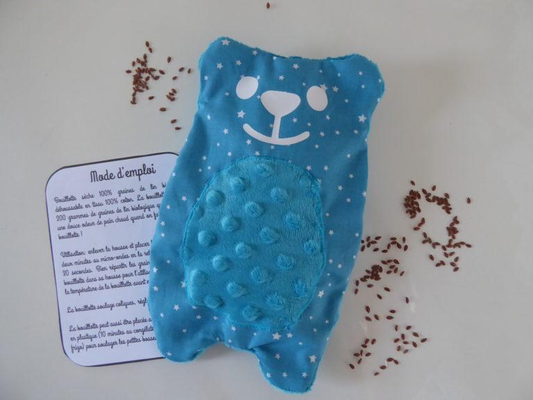 Bouillotte sèche 100% graines de lin déhoussable modèle ourson peluche