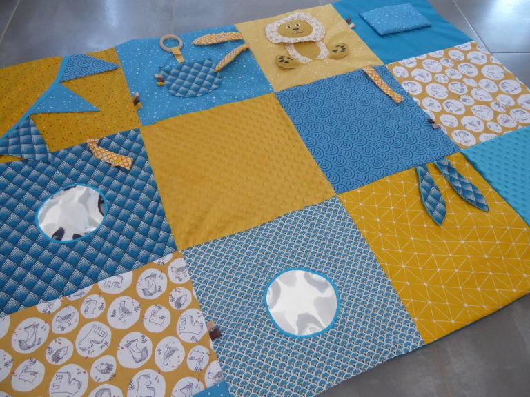 Tapis d'éveil sensoriel personnalisable pour bébé et enfant Montessori multi-activités d'éveil