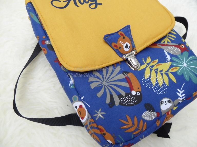Cartable sac à dos maternelle personnalisé tissu et prénom