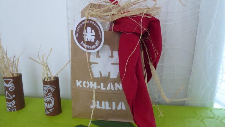 Sac en kraft personnalisé pour anniversaire Koh-Lanta